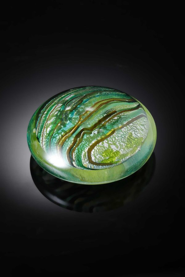 Handmade Paperweight for that special gift with Silver leaf By Allister Malcolm Glass