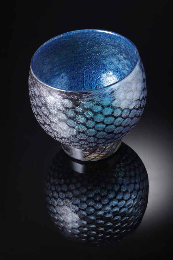 mermaid bowl by allister Malcolm. patterned glass with sterling silver leaf